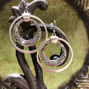 Silver Earrings with Crystal Stones.